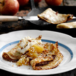 Pancakes With Apple Compote & Lemon Cream