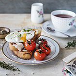 Cheese French Toast with Roasted Cherry Tomatoes and Poached Eggs