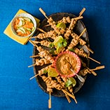 Chicken Satay Sticks with Lime Dip and Pickled Cucumber and Carrots