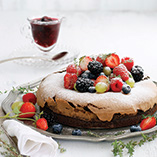 Chocolate Berry Meringue Cake