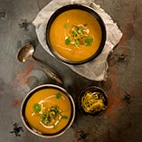 Coconut and Butternut Squash Soup with Caramelised Leeks