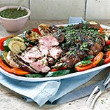Greek Style Butterflied Leg of Lamb with Chimichurri