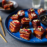 Sticky pork belly canapes