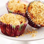 Strawberry Rhubarb muffins with crumble topping
