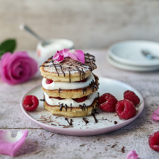 Raspberry Pancake Stack with Rose Cream
