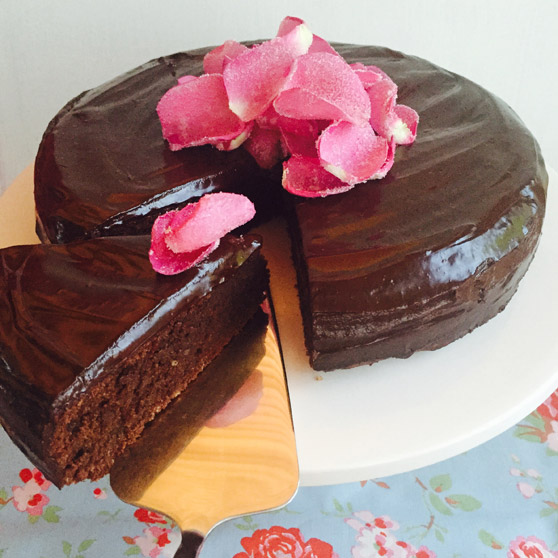 Rich Chocolate Cake with Rose Petals