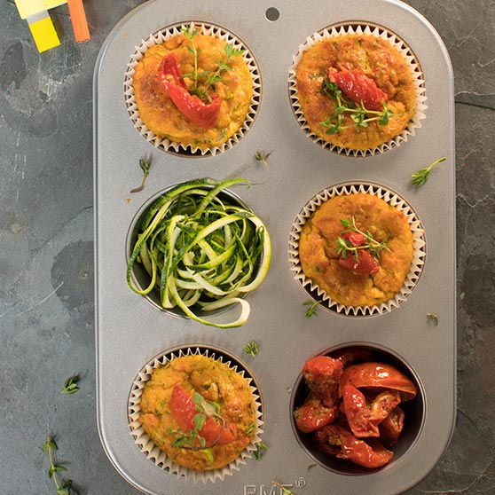 Courgette & Sundried Tomato Muffins
