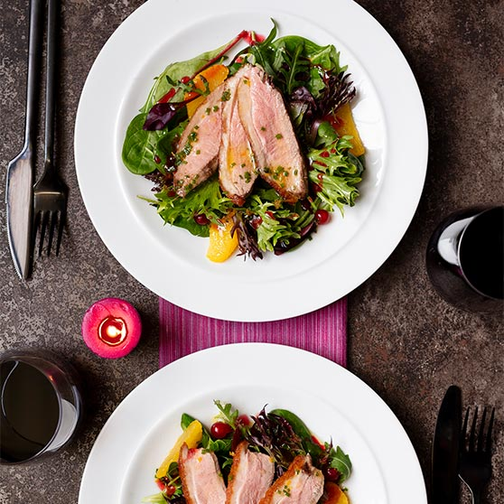Duck with Redcurrant Sauce, Watercress and Orange Salad
