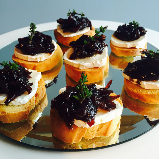 Goats Cheese Crostini with Red Onion Marmalade