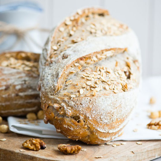 Hazelnut, Oats And Walnut Bread