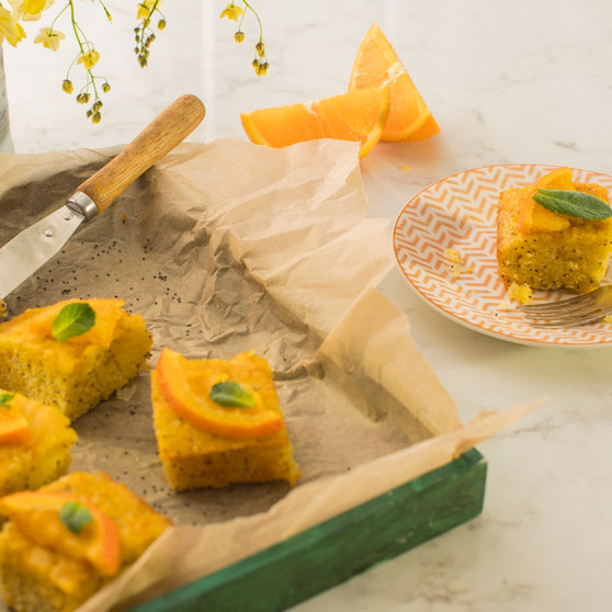 Orange, Poppy, and Polenta Drizzle Squares