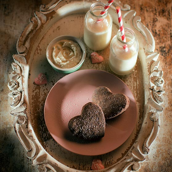 Orange Chocolate Shortbread Hearts with a Rum Dip