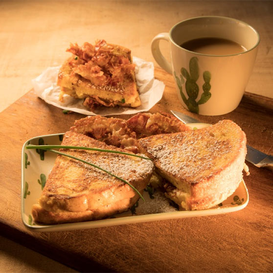 Pancetta Chive Cream Cheese Stuffed French Toast