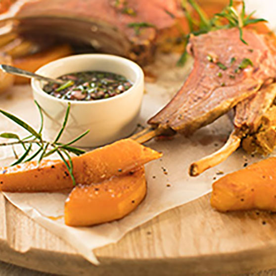 Rack of Lamb with Butternut Squash Cumin Wedges