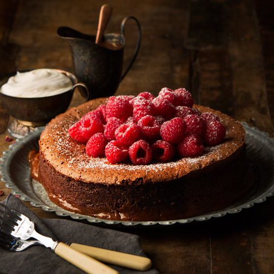 Salted Caramel Chocolate Torte with Raspberries