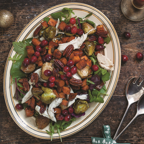 Warm Turkey Salad and Pickled Cranberries